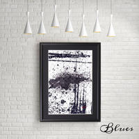 抽象画 ルイヴィトン ブラックアンドホワイト オマージュアート_A4サイズ『Blues』