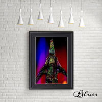 フランス パリ エッフェル塔 世界遺産 コラージュ _A4サイズ『Blues』
