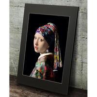 フェルメール 真珠の耳飾りの少女 タイポグラフィ アート高級マットパネル_A2A1サイズ『Blues』