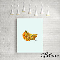 バナナ banana コラージュ アート キャンバス_A2A1サイズ『Blues』