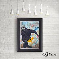 バナナ 世界平和 ラブ BANANA コラージュ_A4サイズ『Blues』