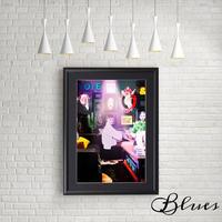 オードリーヘップバーン おしゃれアート コラージュ_A4サイズ『Blues』