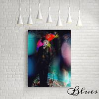 チャールズチャップリン コラージュ ポップアート キャンバス_A2/A1サイズ『Blues』