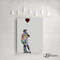 ダビデ像 ミケランジェロ カラフル タイポグラフィ アート キャンバス_A2A1サイズ『Blues』