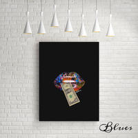 リップ 唇 1ドル マネー コラージュアート キャンバス_A2A1サイズ『Blues』
