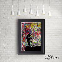 ジェームスディーン ステンシル コラージュアート_A4サイズ『Blues』