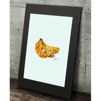 バナナ banana コラージュアート 現代アート 高級マットパネル_A2A1サイズ『Blues』