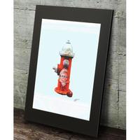 タバスコ 消火栓 リンゴ 現代アート ポップアート 高級マットパネル_A2A1サイズ『Blues』