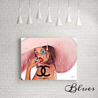 ピンク麦わら帽子 シャネル ビーチガール _P10P20サイズ『Blues』