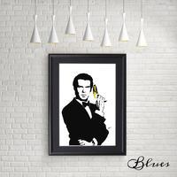 007 ジェームズボンド バナナ 現代アート_A4サイズ『Blues』