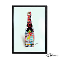 モエシャンドン シャンパン コラージュアート_A2A1サイズ『Blues』