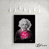 アインシュタイン モノクロ ラブ おしゃれアート キャンバス_A2A1サイズ『Blues』