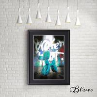 バルーンアート ドッグ スカイブルー 現代アート_A4サイズ『Blues』