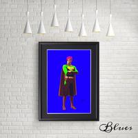 マリリンモンロー スーパーマン コラージュアート 現代アート_A4サイズ『Blues』