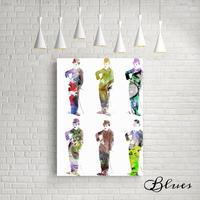 チャップリン キャラコラージュ コラージュアート キャンバス_A2A1サイズ『Blues』