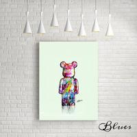 ベアベリック ポップアート クマ テディベア コラージュ キャンバス_A2A1サイズ『Blues』