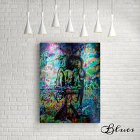 ドナルドダック ステンシル コラージュアート キャンバス_A2A1サイズ『Blues』