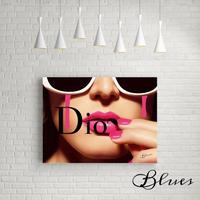 ディオール ピンクリップ タイポグラフィ アート キャンバス_A2/A1サイズ『Blues』