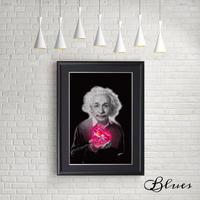 アインシュタイン モノクロ ラブ おしゃれアート_A4サイズ『Blues』
