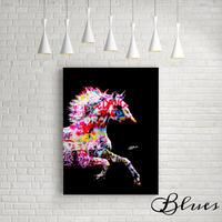 白馬 タイポグラフィ カラフル コラージュ キャンバス_A2A1サイズ『Blues』