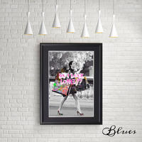 ゴシップガール ブレア ショッピング コラージュ アート_A4サイズ『Blues』