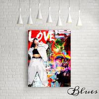 リアーナ ポップアップ コラージュアート キャンバス _A2A1サイズ『Blues』