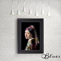 フェルメール 真珠の耳飾りの少女 タイポグラフィ アート_A4サイズ『Blues』
