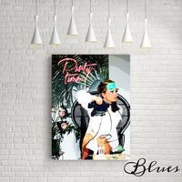 オードリーヘップバーン ティファニー イラスト風 キャンバス _A2A1サイズ『Blues』