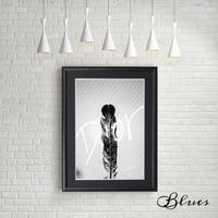 ウィング ブラックアンドホワイト ディオール オマージュアート_A4サイズ『Blues』