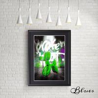 バルーンアート ドッグ グリーン 現代アート_A4サイズ『Blues』