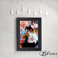 オードリーヘップバーン コラージュアート_A4サイズ『Blues』
