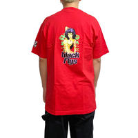 【DEAD STOCK】90'S-00'S BLACK FLYS LADY PRINT T-SHIRT RED
