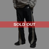 【USED】90'S  ADIDAS SIDE SEAM SLITS WITH SNAP BUTTON NYLON TRACK PANTS BLACK