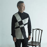 Black and Beige Composition Patchwork Shirt.(Men's SIZE:4)