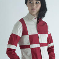 Red and Beige Composition Patchwork Shirt.(Ladies' SIZE:1)