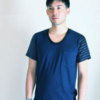 Stripe and Border Sleeve Navy T-shirt.(Free  SIZE)