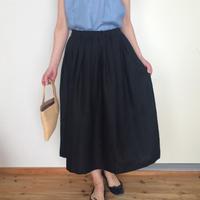 リネンのスカート  ブラック