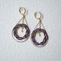 相生結びのイヤリング(purple & gold)