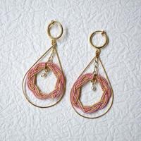 相生結びのイヤリング (pink & gold)