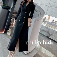 ワンピース ロング丈 ダブルブレスト スーツカラー 上品 黒