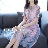 パーティードレス シルク ひざ丈 レトロ 花柄 半袖 ピンク