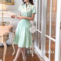 セットアップ 半袖 プリーツスカート ミディアム丈 上品 薄緑