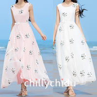 ワンピース ドレス メッシュ 花刺繍 マキシ丈 袖なし 上品 2色