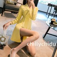 ワンピース ミニ丈 オープンフォーク スーツカラー 黄
