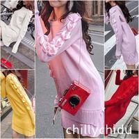 ワンピース ドレス ニット サイドリボン プリーツ フリル 5色