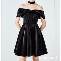 パーティ―ドレス オフショルダー フレア ショート お呼ばれ 黒