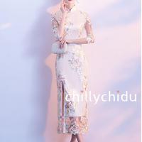 チャイナドレス ロング丈 刺繍 横スリット レース シャンパンカラー