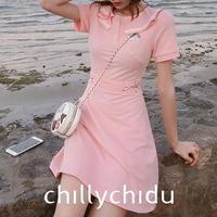 ポロシャツワンピース ドレス Aライン 刺繍 ウエストレースアップ ライン襟 ミニ