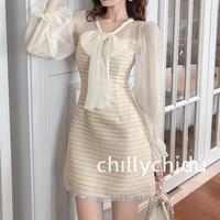 ワンピース ドレス ツイード 重ね着風 ボリューム袖 フリンジ フロントリボン ミニ