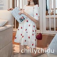 ワンピース ドレス オフショルダー シャーリング ストロベリー刺繍 フリル袖